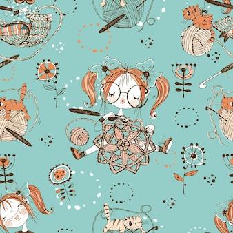 Costureiras lindas garotas tricotadoras de crochê. seamless pattern.vektor.