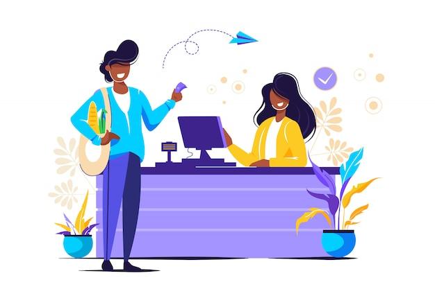 Cotidiano, caixa e cliente comprando mantimentos