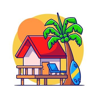 Cottage house beach com ilustração do ícone do vetor dos desenhos animados do sol. conceito de ícone de férias de construção isolado vetor premium. estilo flat cartoon