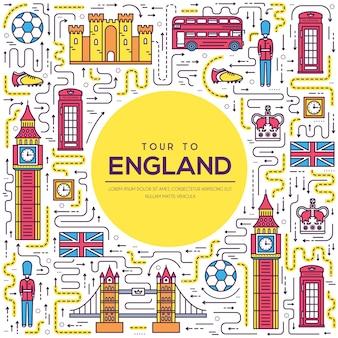 Country england viagem férias guia de mercadorias. conjunto de arquitetura, moda, pessoas, itens, natureza