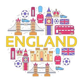 Country england viagem férias guia de mercadorias, lugares em design de estilo de linhas finas.
