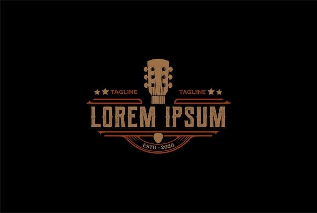 Country guitar music western vintage retro saloon bar cowboy logo design vector