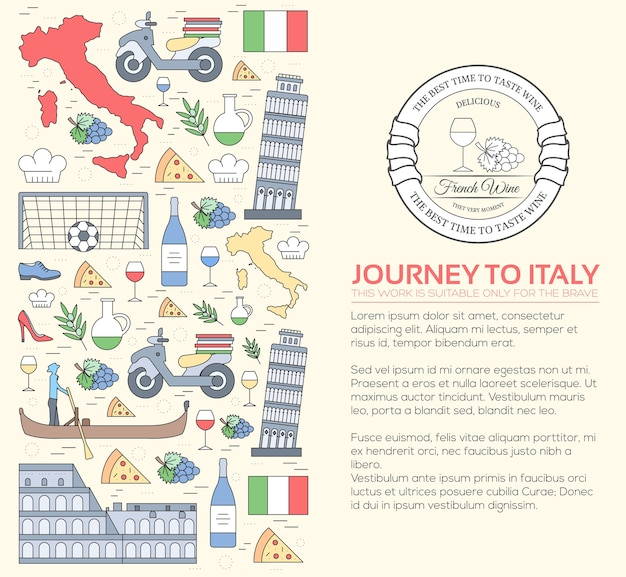 Country italy viagem guia de férias de mercadorias