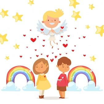 Coupidone conecta corações dos miúdos, ilustração. personagem de menino e menina se apaixonar, entre eles pequeno coração