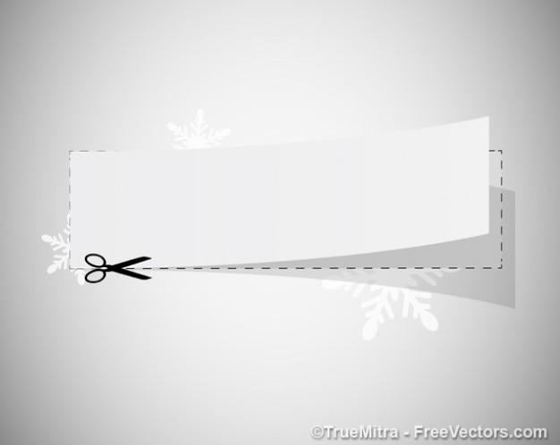 Coupon branco com uma tesoura