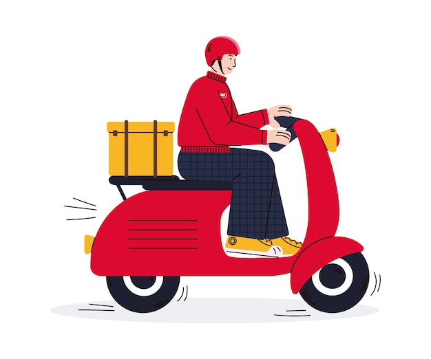 Courier andando de scooter vermelha de entrega
