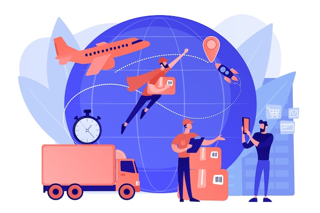 Courier carregando ordem, entregando pacote. serviço de entrega expressa de carga, logística e distribuição de frete aéreo, conceito global de correio postal. ilustração de vetor isolado de coral rosa