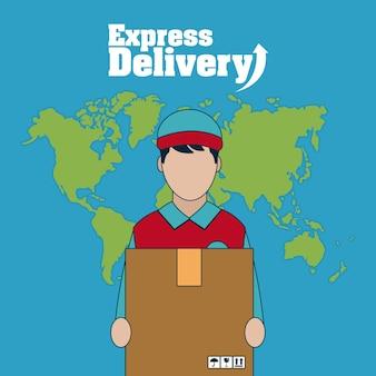 Courier com caixa sobre o design gráfico do mundo mapa vector ilustração