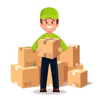 Courier com uma caixa nas mãos
