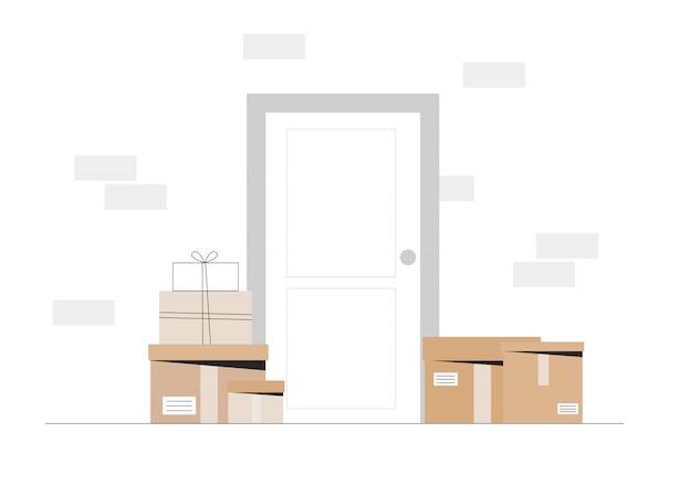 Courier deixou a caixa de entrega na porta da casa.
