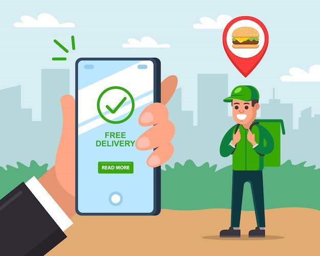 Courier entrega comida rápida a um cliente. homem detém um telefone móvel e rastreia a entrega. ilustração plana.