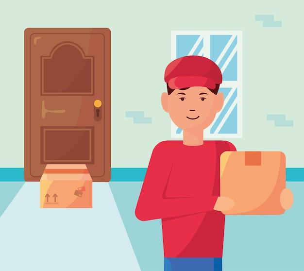 Courier levantando caixas em ilustração de elementos de serviço de entrega de porta de casa