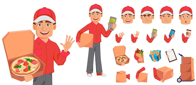 Courier man em uniforme vermelho
