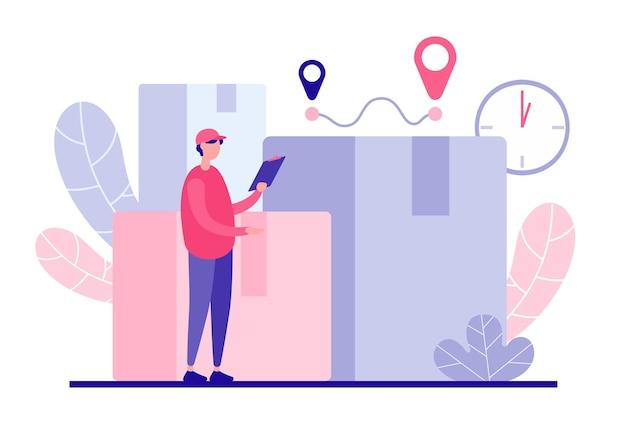 Courier olha o conceito de rota de entrega. personagem masculino com tablet calcula o tempo e o número de pedidos de clientes. etiquetas de pontos de referência e navegação moderna para logística expressa
