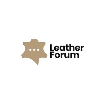 Couro conversa fórum bate-papo comunidade logotipo ícone ilustração vetorial