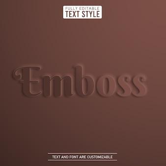 Couro marrom chocolate grava efeito de texto editável