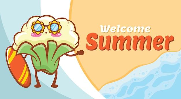 Couve-flor fofa segurando uma prancha de surf com uma bandeira de saudação de verão