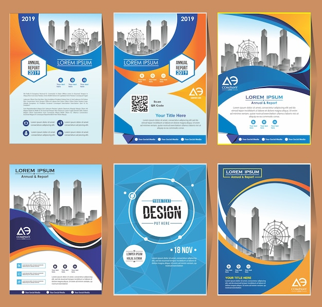 Cover set template a4 size design de brochura comercial
