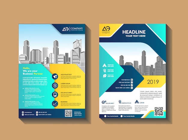 Cover template a4 size design de brochura comercial capa de relatório anual