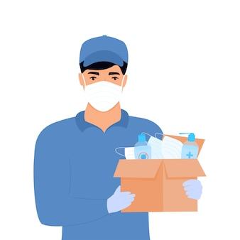 Covid-19. ajuda humanitária. fornecimento de máscaras de proteção médica e desinfetantes. epidemia do coronavírus. homem entrega entregando encomendas