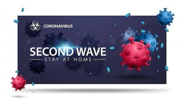 Covid-19, conceito de segunda onda. banner azul com moléculas de coronavírus 3d rosa e azul. banner 3d com design moderno. coronavírus 2019-ncov.
