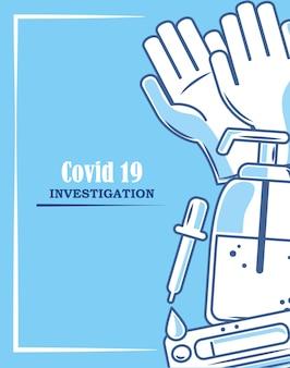 Covid 19 coronavirus investigação álcool dispensador conta-gotas ilustração médica azul