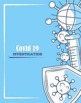Covid 19 coronavirus investigação escudo pesquisa ilustração azul