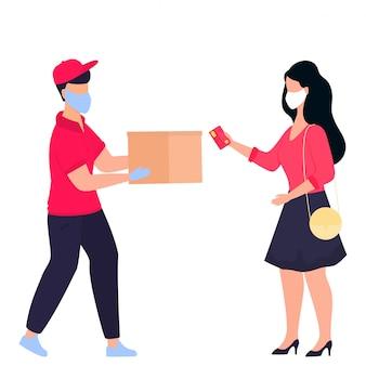 Covid-19. coronavírus. um entregador com uma máscara médica protetora trouxe o pacote. mulher esperando por um correio. pedir comida. entrega segura. quarentena. isolamento voluntário.