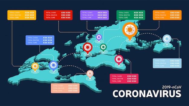 Covid-19, covid 19 mapa isométrico de casos confirmados, cura e mortes relatam em todo o mundo em todo o mundo atualização da situação da doença de coronavírus 2019 em todo o mundo. os mapas mostram a situação e o histórico de estatísticas