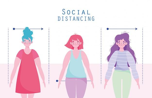 Covid 19 mulheres prevenção de coronavírus personagens distanciamento social