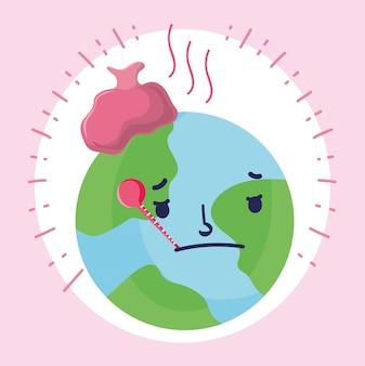 Covid 19 mundo pandêmico e triste de coronavírus com termômetro e