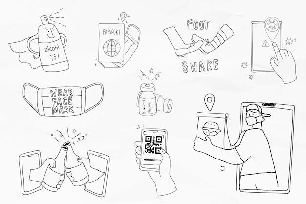 Covid-19 nova coleção de personagens de doodle preto bonito estilo de vida normal