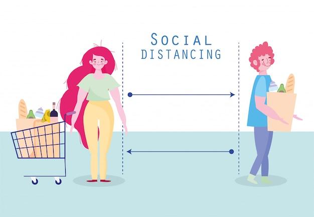 Covid 19, prevenção social de distanciamento, homem e mulher com carrinho de compras mantêm distância
