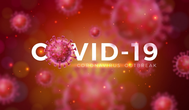 Covid-19. projeto de surto de coronavírus com célula de vírus na visão microscópica