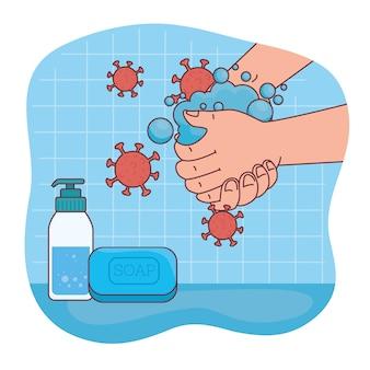Covid 19 vírus na lavagem das mãos com design de sabonete, higiene, lavagem, saúde e limpeza