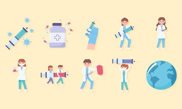 Covid e conjunto de ícones médicos