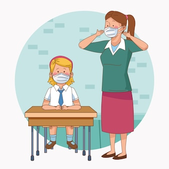 Covid preventivo em cena escolar com professora e aluna na mesa