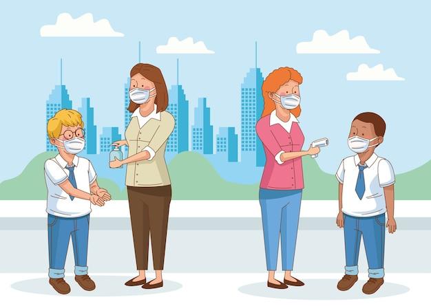 Covid preventivo na cena escolar com alunos, meninos e professores