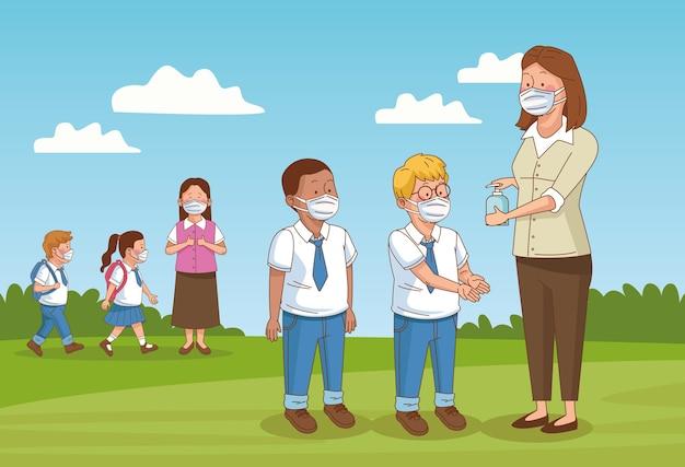 Covid preventivo na cena escolar com alunos no acampamento Vetor Premium