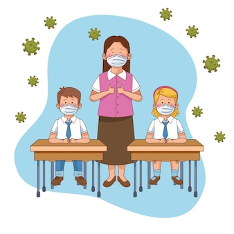Covid preventivo na cena escolar com casal de alunos em carteiras e ilustração vetorial de professor
