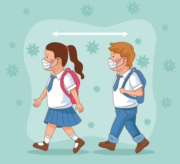 Covid preventivo na cena escolar com pequeno casal de alunos caminhando com vetor de distância social