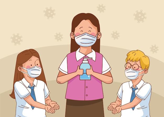 Covid preventivo na cena escolar com pequeno casal de alunos e professora usando sabonete antibacteriano