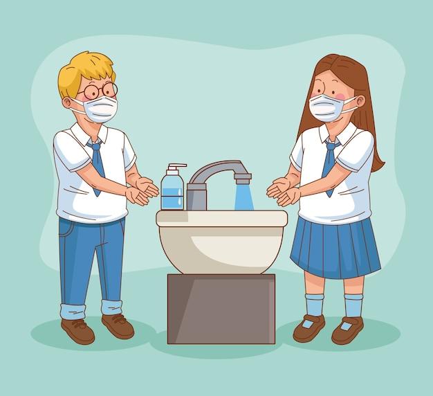 Covid preventivo na cena escolar com pequeno casal de alunos lavando as mãos ilustração vetorial