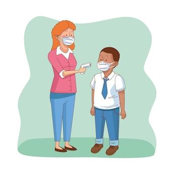 Covid preventivo na cena escolar com personagens de alunos e professores
