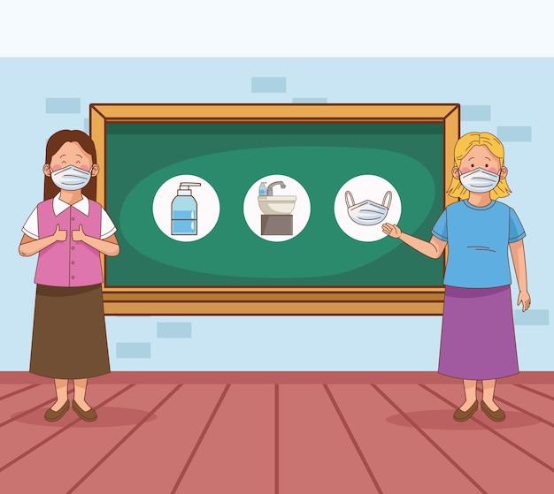 Covid preventivo na cena escolar com professores em sala de aula