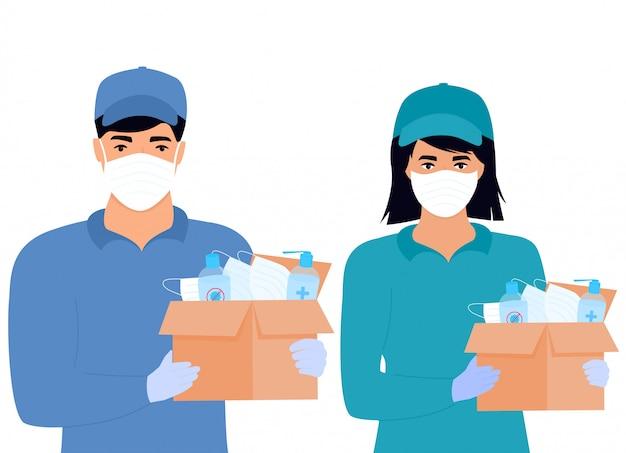 Covid19. ajuda humanitária. fornecimento de máscaras e desinfetantes de proteção médica. epidemia do coronavírus. garota de entrega e homem entregando encomendas