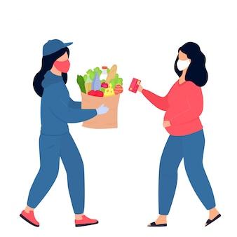 Covid19. coronavírus. uma entregadora com uma máscara médica protetora trouxe o pacote com comida. uma mulher grávida conhece um mensageiro. entrega segura. quarentena. isolamento voluntário