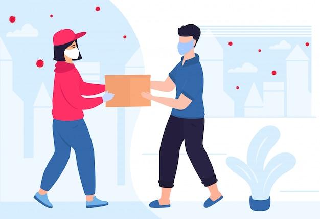 Covid19. coronavírus. uma entregadora com uma máscara médica protetora trouxe o pacote. um homem em quarentena em um apartamento pega uma caixa de papelão de um correio. pedir comida. isolamento voluntário.
