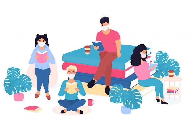 Covid19. epidemia do coronavírus. quarentena. educação em casa. as pessoas usam máscaras médicas protetoras para se auto-isolar e passam tempo lendo livros.
