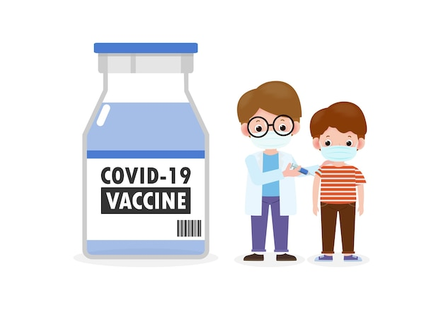 Covid19 ou vacina contra coronavírus vaccinekids com pediatra segurando uma seringa médico segura uma injeção de vacinação infantil prevenção e imunização criança usando máscaras médicas para prevenir doenças